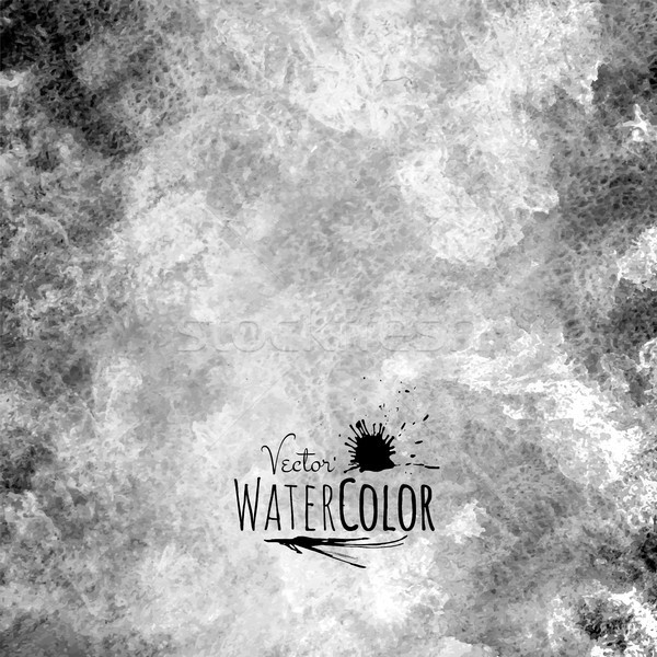 Stock photo: Abstract vector hand drawn black and white watercolor background