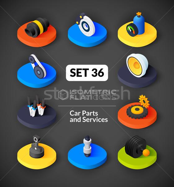 Stock photo: Isometric flat icons set 36