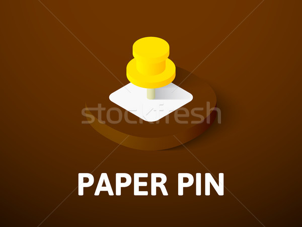 Foto stock: Papel · pin · isométrica · ícone · isolado · cor