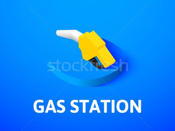 Posto de gasolina isométrica ícone isolado cor vetor Foto stock © sidmay