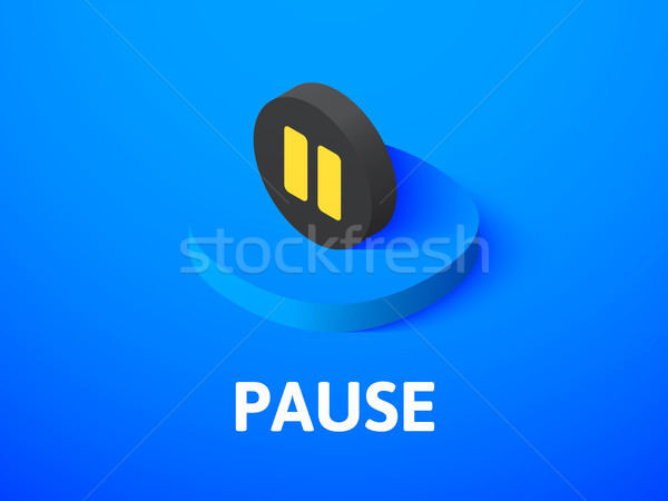 Pause isometric icon, isolated on color background Stock photo © sidmay