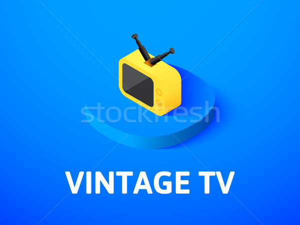 Vintage TV isometric icon, isolated on color background Stock photo © sidmay