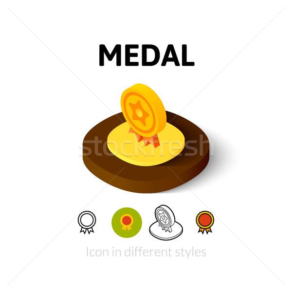 Madalya ikon farklı stil vektör simge Stok fotoğraf © sidmay