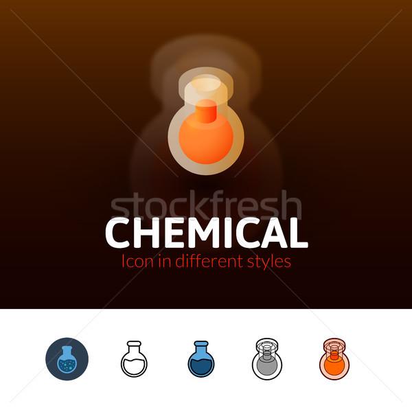 Chemische icon verschillend stijl kleur vector Stockfoto © sidmay