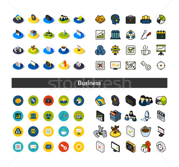 Icônes différent style isométrique Photo stock © sidmay