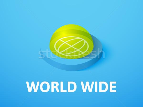 Wereld breed isometrische icon geïsoleerd kleur Stockfoto © sidmay