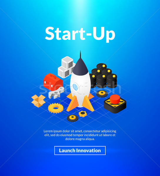 Startup poster of isometric color design Stock photo © sidmay