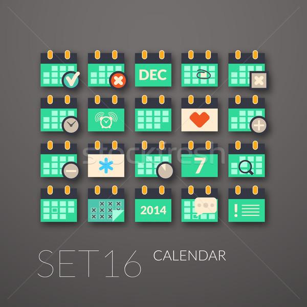16 kalendarza kolekcja działalności farby Zdjęcia stock © sidmay