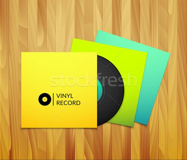黒 ヴィンテージ ビニール レコード 黄色 青 ストックフォト © sidmay