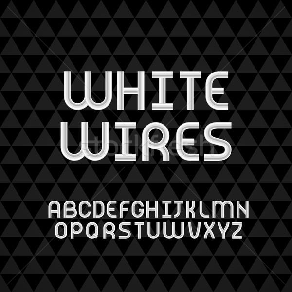 Dalgalı kablo beyaz alfabe yalıtılmış Stok fotoğraf © sidmay