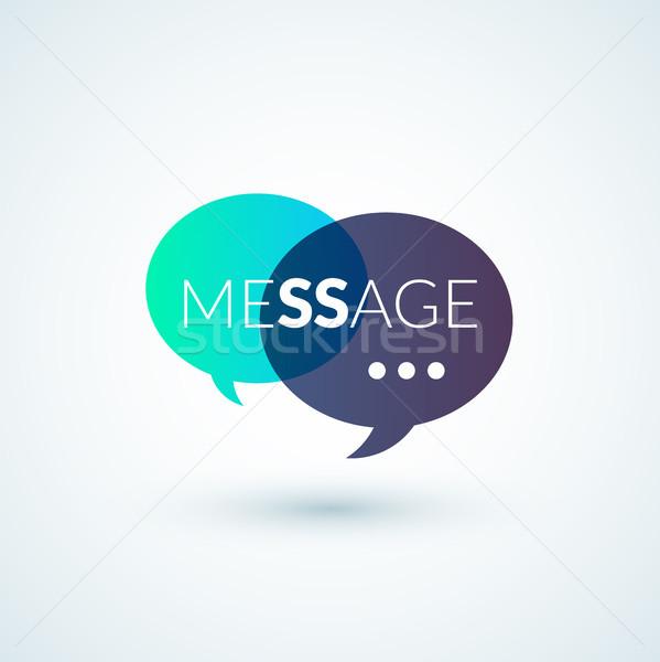 Szöveges üzenet logo sms posta vektor ikon Stock fotó © sidmay