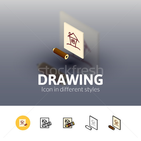 Drawing icon in different style Stock photo © sidmay