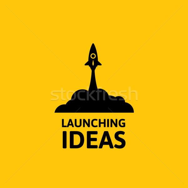 Foto stock: Preto · foguete · ícone · nuvem · estilo · isolado · amarelo