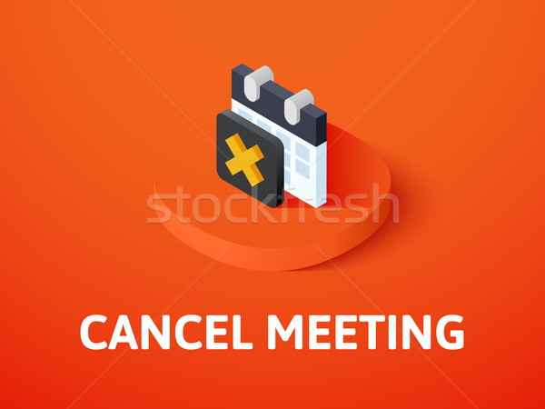 Cancel meeting isometric icon, isolated on color background Stock photo © sidmay
