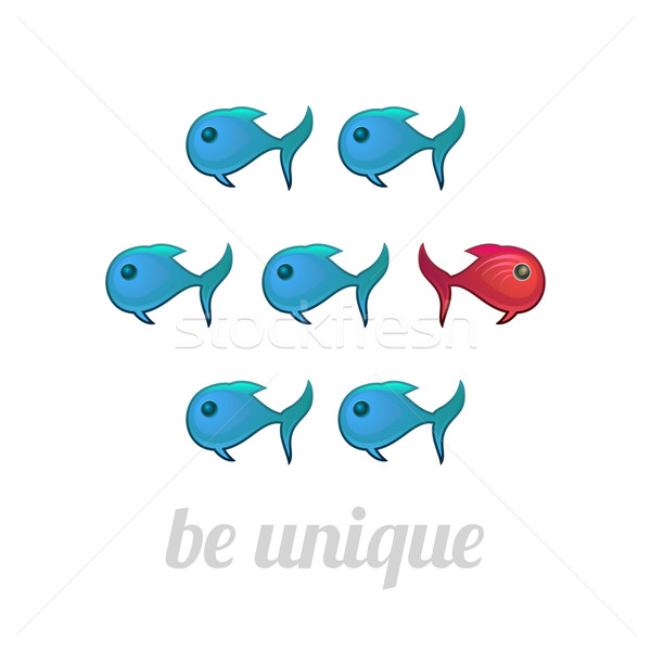 Be unique concept, blue and red fish, isolated Stock photo © sidmay