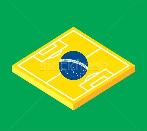 Flat green soccer field, brazil flag Stock photo © sidmay