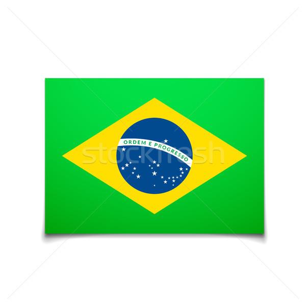 Brezilya bayrak yalıtılmış beyaz vektör soyut Stok fotoğraf © sidmay