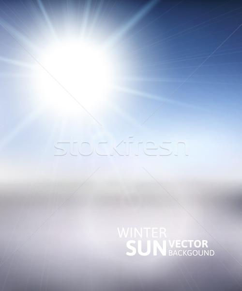 Montagne ciel bleu hiver soleil blanche Photo stock © sidmay