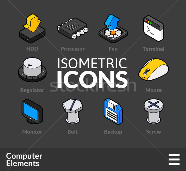 Isometric outline icons set 3 Stock photo © sidmay