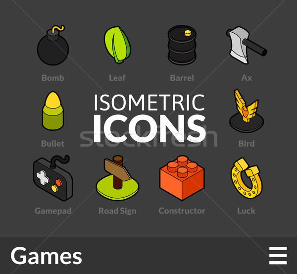 Izometryczny 14 ikona 3D Zdjęcia stock © sidmay