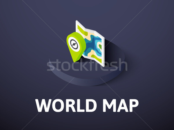 World map isometric icon, isolated on color background Stock photo © sidmay