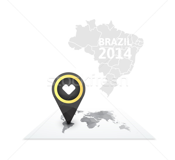 World map with a marker on Brazil Stock photo © sidmay