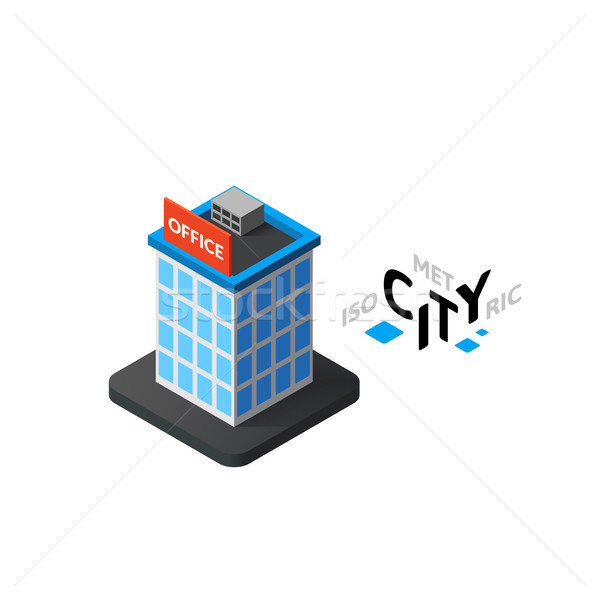 Isometric office building icon, building city infographic element, vector illustration Stock photo © sidmay