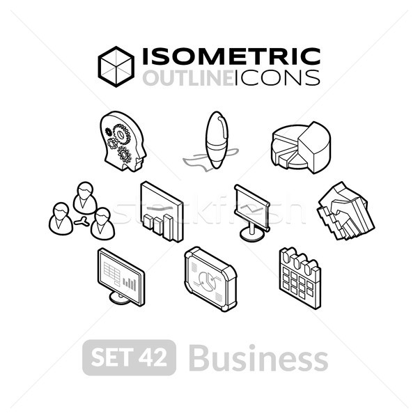Isometric outline icons set 42 Stock photo © sidmay