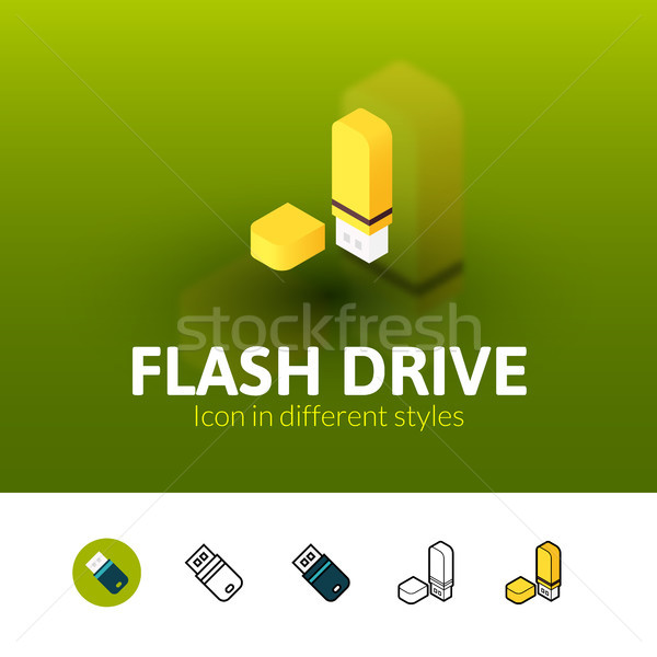 Flash drive icon in different style Stock photo © sidmay