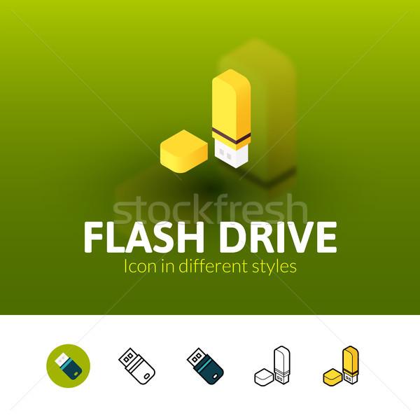 Flash drive ícone diferente estilo cor vetor Foto stock © sidmay