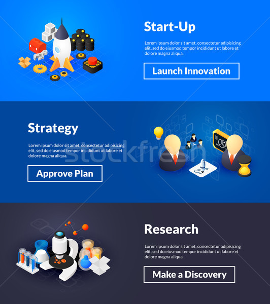 Stock photo: Startup strategy and research banners of isometric color design