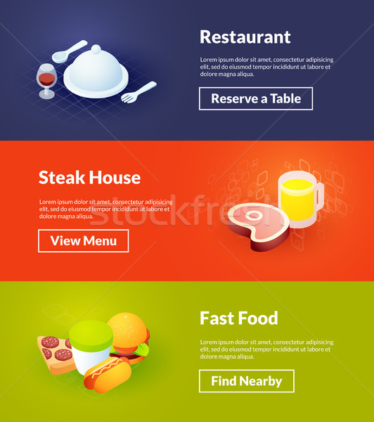 Restaurant steak house and fast food banners of isometric color design Stock photo © sidmay