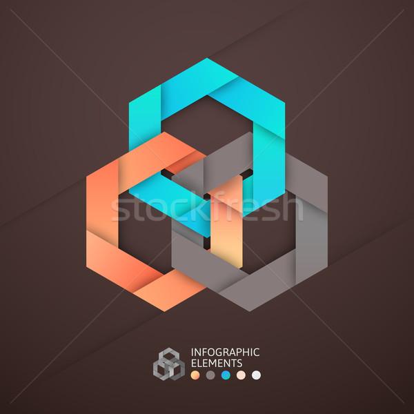 Moderne business stap origami stijl opties Stockfoto © sidmay