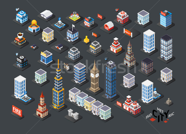 Izometrikus vetítés 3D épületek lakóövezeti iroda Stock fotó © sidmay