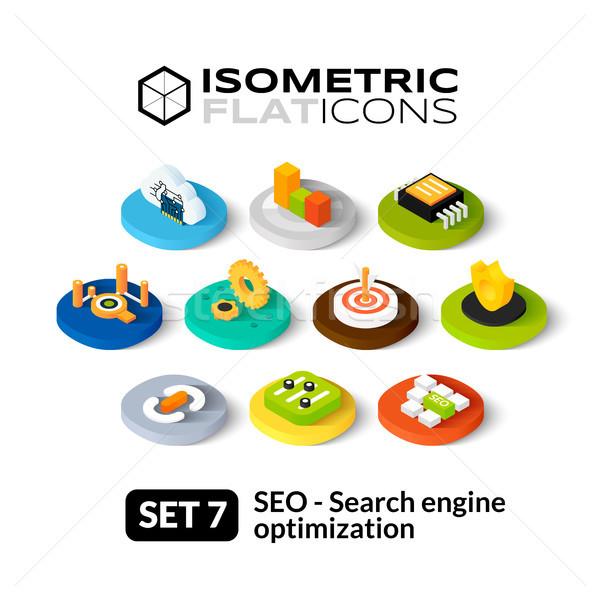 Isometric flat icons set 7 Stock photo © sidmay