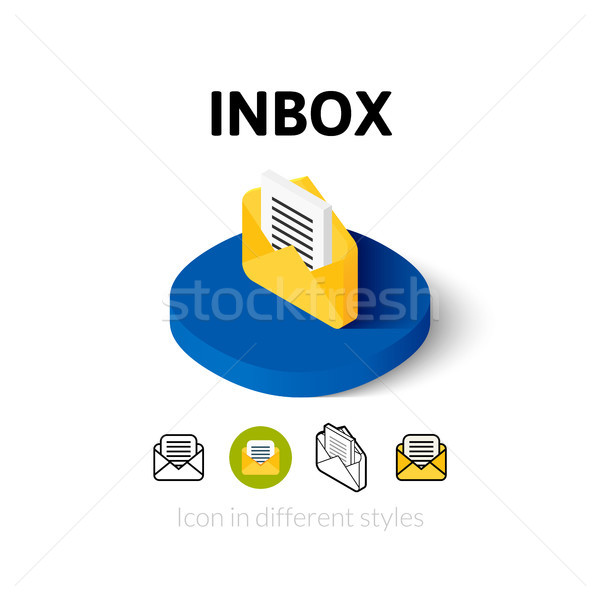 Inbox icon in different style Stock photo © sidmay