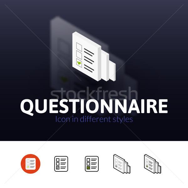 Questionnaire icône différent style couleur vecteur Photo stock © sidmay