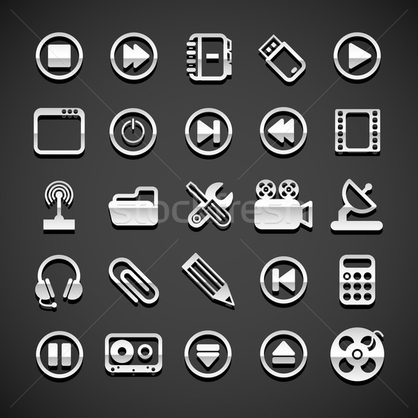 Stock photo: Flat metallic universal icons