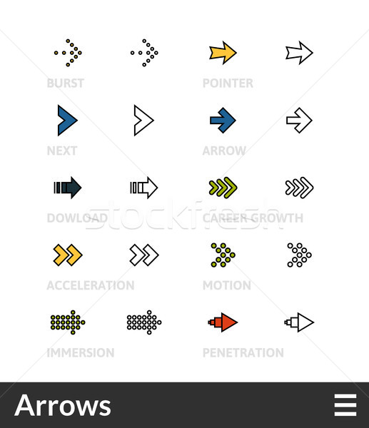 Stock photo: Black and color outline icons, thin stroke line style design