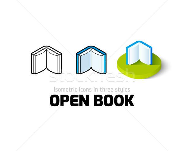 Open boek icon verschillend stijl vector symbool Stockfoto © sidmay