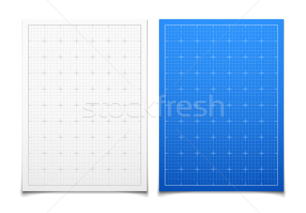 White and blue isolated square grid set with shadow Stock photo © sidmay