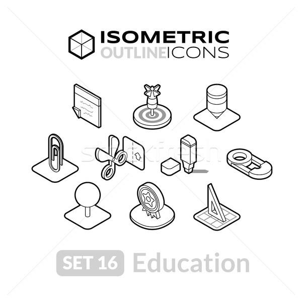 изометрический 16 иконки 3D Сток-фото © sidmay