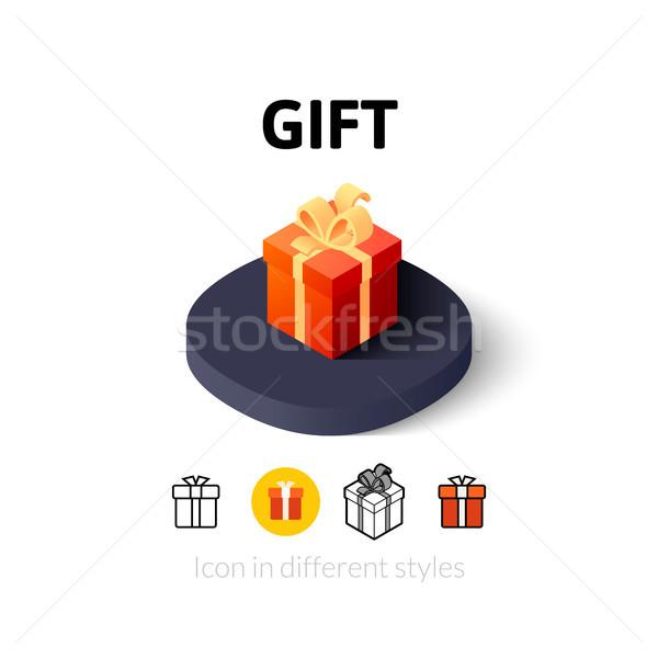 Сток-фото: подарок · икона · различный · стиль · вектора · символ