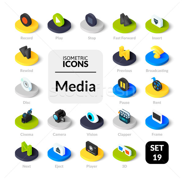 Color icons set in flat isometric illustration style, vector collection Stock photo © sidmay