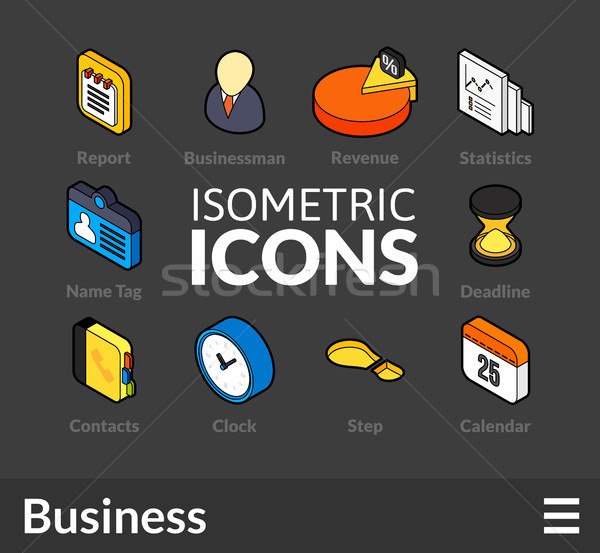 Isometric outline icons set 9 Stock photo © sidmay