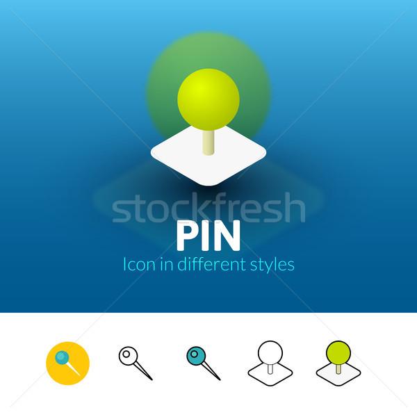 Pin ícone diferente estilo cor vetor Foto stock © sidmay