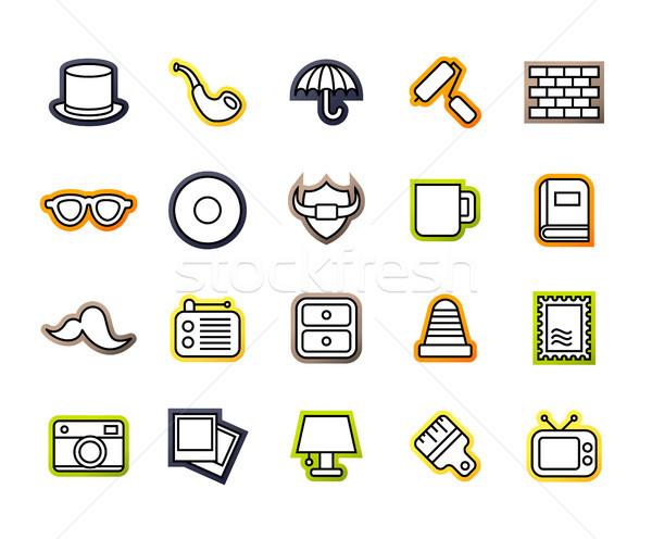 Skicc ikonok vékony terv modern vonal Stock fotó © sidmay