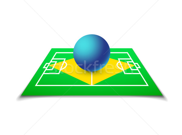 Green soccer field, brazil flag Stock photo © sidmay