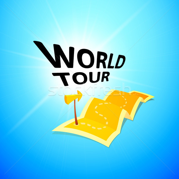 World tour concept logo, long route in travel map with guide marker Stock photo © sidmay