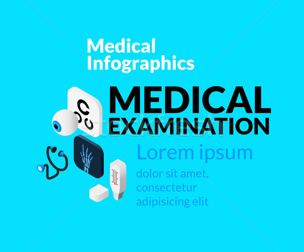 Medical healthcare infographic set with isometric flat icons, medical examination concept Stock photo © sidmay